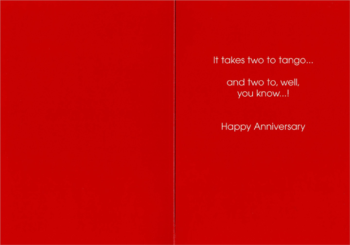 Couple Dancing (1 card/1 envelope) Anniversary Card - FRONT: No Text  INSIDE: It takes two to tango..and two to, well, you know..! Happy Anniversary