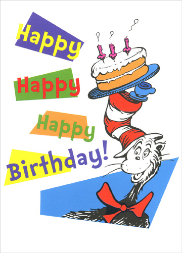 Up Up Up With a Fish (1 card/1 envelope) Dr. Suess Birthday Card - FRONT: Happy Happy Happy Birthday!  INSIDE: A magical day is a birthday indeed - Here's a couple of things you may find you'll need - A cake and some ice cream - to name one and two .. And don't forget candles so your wishes come true! Happy Birthday