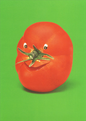Frisky Tomato (1 card/1 envelope) Funny Birthday Card - FRONT: No Text  INSIDE: You're not getting older.. you're getting riper! Happy Birthday
