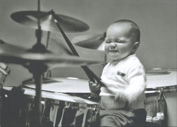 Playtime: Baby Playing Drums (1 card/1 envelope) Blank Card - FRONT: No Text  INSIDE: Blank Inside