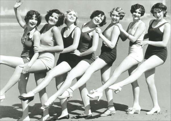 Chorus Line of 30's Style Bathing Suits (1 card/1 envelope) Graphique de France Funny Birthday Card - FRONT: No Text  INSIDE: Remember when we were hotter than sand?  Now we're just older than dirt.  HAPPY BIRTHDAY.