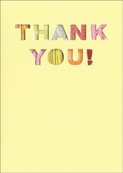 Die Cut Thank You (1 card/1 envelope) Graphique de France Thank You Card - FRONT: Thank you!  INSIDE: so very much!