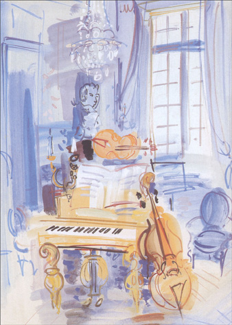 Interieur Aux Instruments De Musique (1 card/1 envelope) Graphique de France Raoul Dufy Birthday Card - FRONT: No Text  INSIDE: May your life be filled with beautiful music.  Happy Birthday