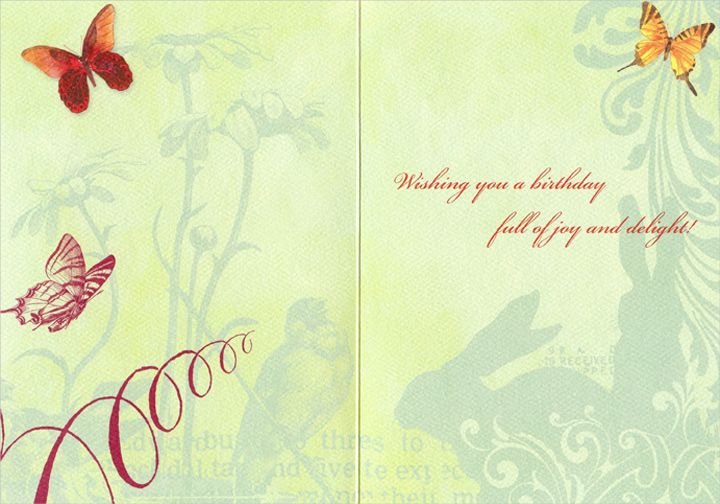 Sunflower With Two Butterflies (1 card/1 envelope) Graphique de France Birthday Card - FRONT: No Text  INSIDE: Wishing you a birthday full of joy and delight!