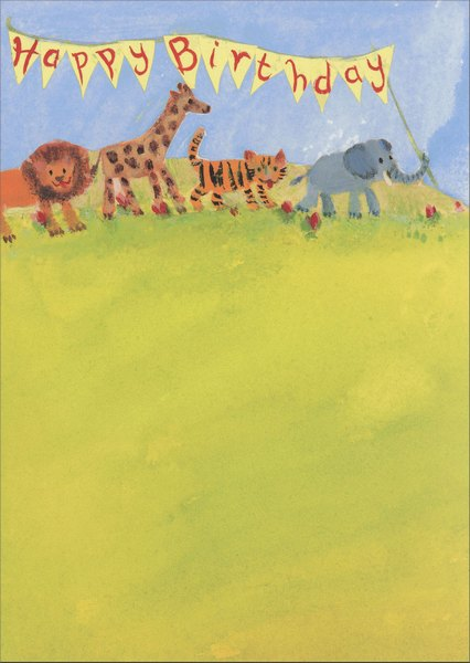 Parade Of Animals (1 card/1 envelope) Graphique de France Birthday Card - FRONT: Happy Birthday  INSIDE: A parade of fun coming your way!