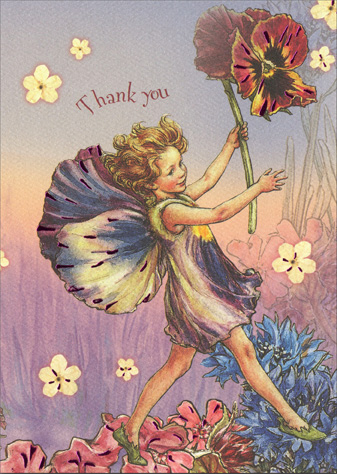 The Pansy Fairy (1 card/1 envelope) Graphique de France Thank You Card - FRONT: Thank you   INSIDE: ..for your thoughtfulness.