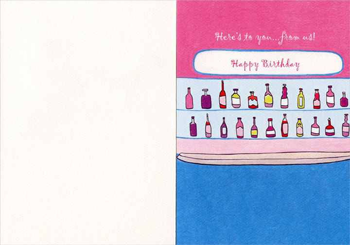 Toasting Cocktails (1 card/1 envelope) Graphique de France Birthday Card - FRONT: here's to a top shelf day!  INSIDE: Here's to you.. from us! Happy Birthday