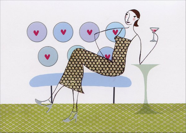 Woman Lounging With A Martini (1 card/1 envelope) Graphique de France Birthday Card - FRONT: No Text  INSIDE: Never Old-fashioned. Always Cosmopolitan.  Happy Birthday!