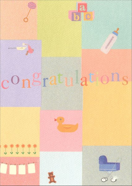 Congratulations Collage (1 card/1 envelope) Graphique de France New Baby Card - FRONT: Congratulations  INSIDE: on your new baby