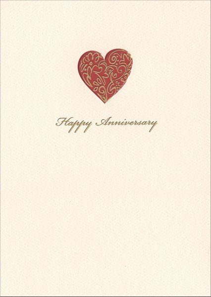 Illustrated Heart (1 card/1 envelope) Graphique de France Anniversary Card - FRONT: Happy Anniversary  INSIDE: Celebrate your love.