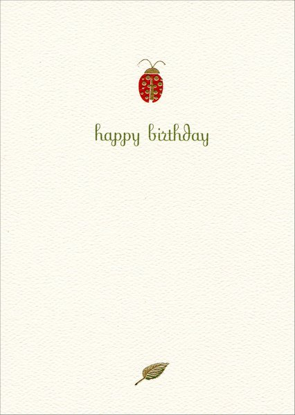 Ladybug Birthday (1 card/1 envelope) Graphique de France Birthday Card - FRONT: happy birthday  INSIDE: wishing you a happy birthday