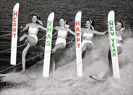 Water Skier Season's Greetings (1 card/1 envelope) Christmas Card - FRONT: MERRY XMAS HAPPY NEW YEAR  INSIDE: MERRY XMAS HAPPY NEW YEAR