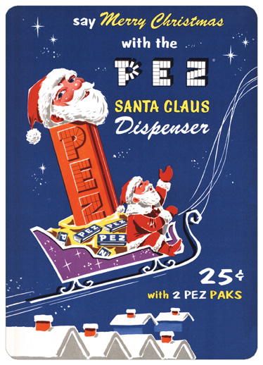 Pez Santa Claus Dispenser (15 cards & 15 envelopes) Boxed Christmas Cards - FRONT: say Merry Christmas with the PEZ Santa Claus Dispenser 25� with 2 pez paks  INSIDE: Pez on Earth