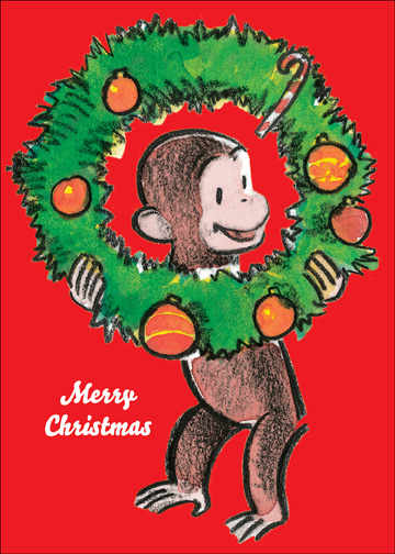 Curious George with Wreath (1 card/1 envelope) Christmas Card - FRONT: Merry Christmas  INSIDE: It's the most wonderful time of the year!