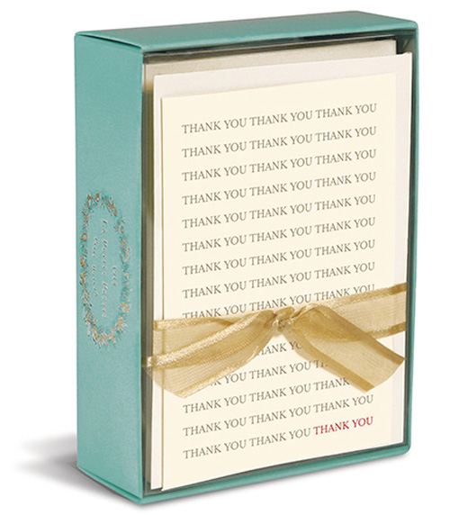 Thank You, Thank You (10 cards/10 envelopes) Graphique de France Boxed Thank You Cards - FRONT: THANK YOU  THANK YOU  THANK YOU (repeated)
