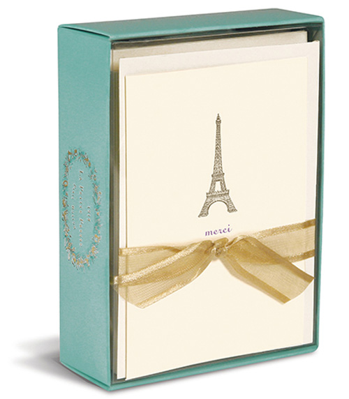 Eiffel Tower (10 cards/10 envelopes) Graphique de France Boxed Thank You Cards - FRONT: merci  INSIDE: Blank Inside