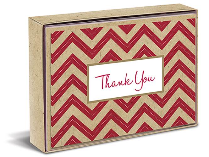 Red Chevron Natural (10 cards/10 envelopes) Graphique de France Boxed Thank You Cards - FRONT: Thank You
