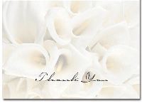 White Calla Lilies Box of 50 Thank You Cards