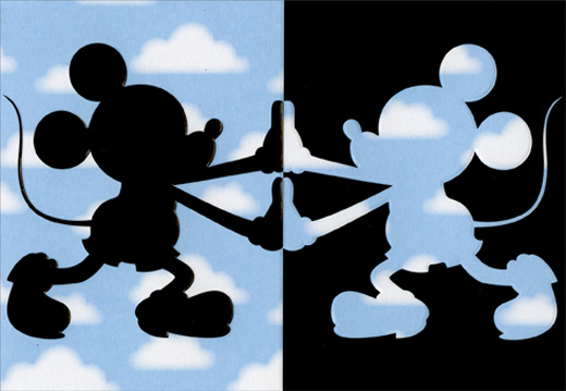 Mickey Mouse Shadow And Clouds Disney Birthday Card