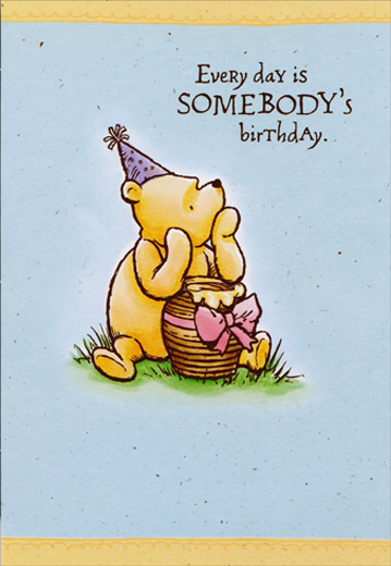 Vintage Winnie The Pooh With Honey Pot Gift Disney Birthday Card For