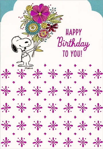 Peanuts Snoopy With Large Flower Bouquet Family Birthday Card For Her By Hallmark