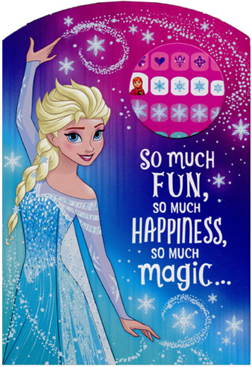 Frozen Princess Elsa So Much Fun Juvenile Disney Birthday Card For Her With Fingernail Stickers