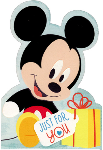 Baby Mickey Mouse With Gift Juvenile Disney Birthday Card