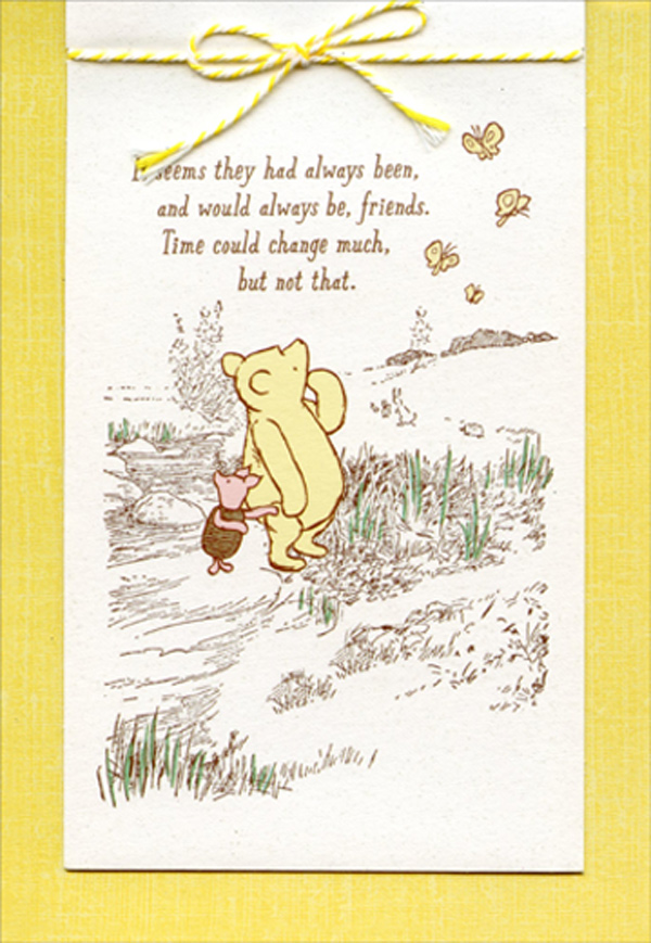 Classic Winnie the Pooh Card If I Live To Be A Hundred Vintage Style Folded Card Blank Inside Coordinating Vintage Envelope