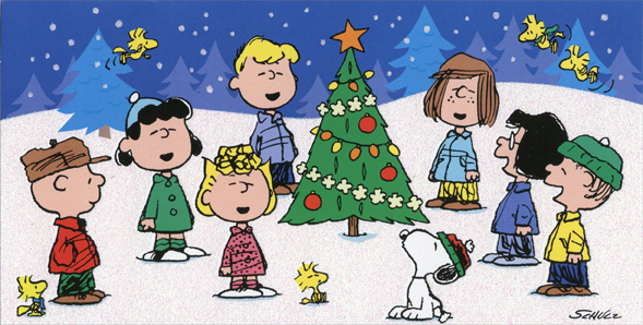 peanuts singing around tree christmas card - Peanuts Christmas