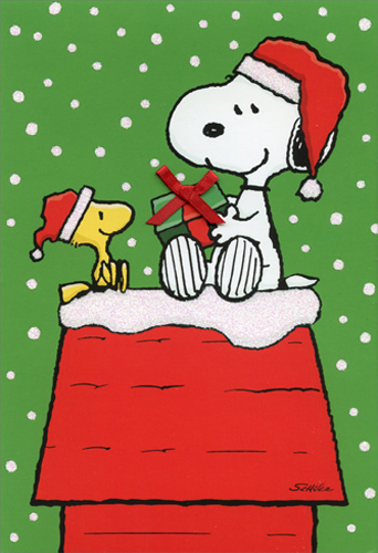 snoopy woodstock gift exchange peanuts christmas card - Peanuts Christmas