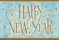 swirling gold foil new year on blue new year card