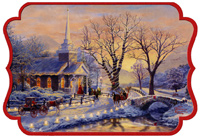 Church and Lighted Road: Thomas Kinkade Box of 16 Christmas Cards