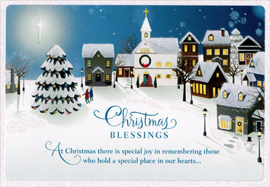 Christmas Blessings Winter Village Dayspring Box Of 16 Christmas Cards By Hallmark