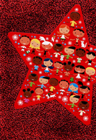 Kids Holding Hands Inside Star on Red Foil : UNICEF Christmas Card