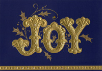 Joy : Gold Foil Embossed Lettering on Deep Blue Christmas Card