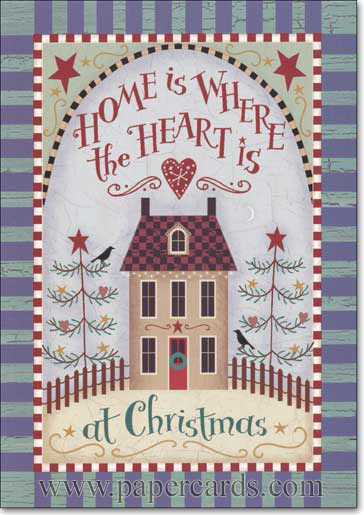 Home Tin Keepsake Box (16 cards/16 matching envelopes) Image Arts Boxed Christmas Cards - FRONT: Home is Where the Heart is at Christmas  INSIDE: May your home be filled with all the joys of Christmas.