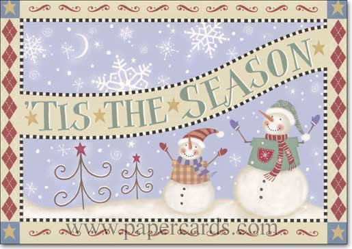 Snowman Tin Keepsake Box (16 cards/16 matching envelopes) Image Arts Boxed Season's Greetings Cards - FRONT: TIS THE SEASON  INSIDE: Season's Greetings and best wishes for the new year.