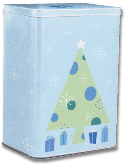 Contemporary Tree Tin Keepsake Box (16 cards/16 matching envelopes) Image Arts Boxed Christmas Cards - FRONT: No Text  INSIDE: Wishing you a wonderful Christmas and a very happy new year.