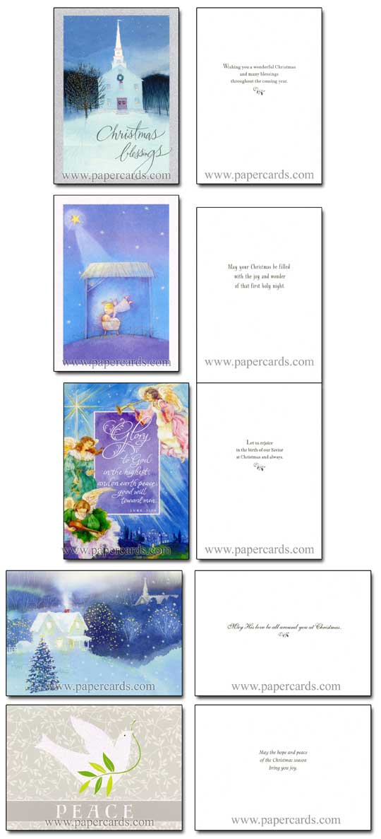 Religious Glitter Assortment (28 cards/28 envelopes) Image Arts Boxed Christmas Cards - FRONT: Various  INSIDE: Various