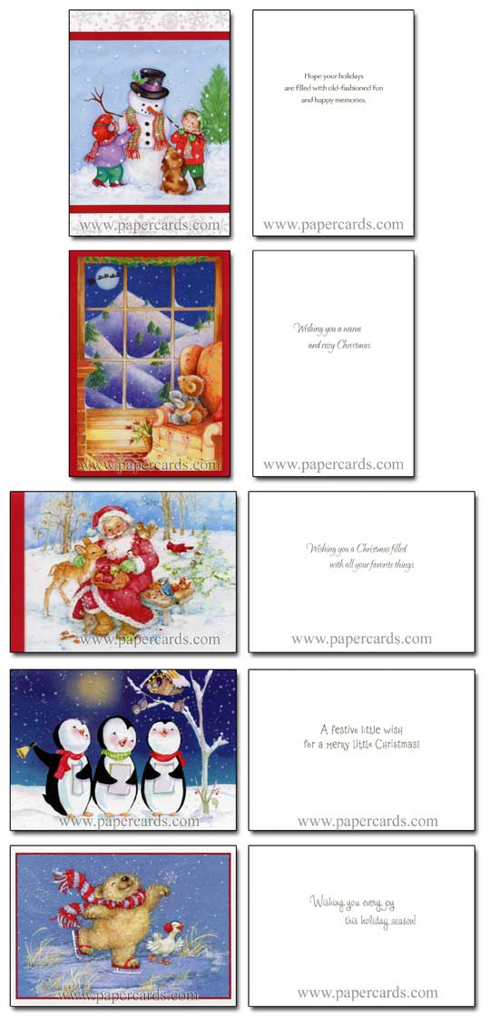 Cute Glitter Assortment (28 cards/28 envelopes) Image Arts Boxed Christmas Cards - FRONT: Various  INSIDE: Various