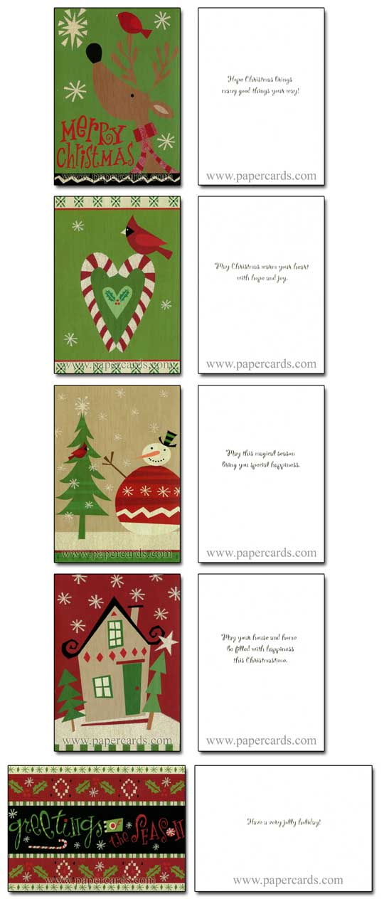 Folk Art Glitter Assortment (28 cards/28 envelopes) Image Arts Boxed Christmas Cards - FRONT: Various  INSIDE: Various
