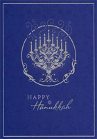 Foil Menorah on Blue (16 cards/16 envelopes)