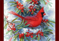 Cardinal in Branches (16 cards/16 envelopes) - Boxed Christmas Cards  INSIDE: Thinking of you and wishing you a wonderful holiday season.