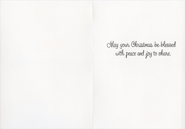 Precious Moments (1 card/1 envelope) Image Arts Christmas Card - FRONT: Merry Christmas  INSIDE: May your Christmas be blessed with peace and joy to share.