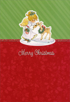 Precious Moments (1 card/1 envelope) - Christmas Card - FRONT: Merry Christmas  INSIDE: May your Christmas be blessed with peace and joy to share.