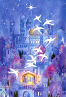 Doves over Bethlehem (1 card/1 envelope) Image Arts Christmas Card