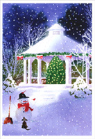 Gazebo and Snowman (1 card/1 envelope) Image Arts Christmas Card