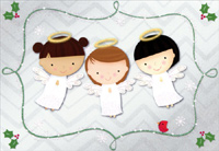 Three Cute Angels (1 card/1 envelope) - Christmas Card  INSIDE: God bless you, love you, keep you� at Christmastime and always.