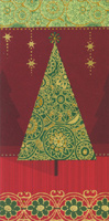 Foil Christmas Tree (1 card/1 envelope) - Christmas Card  INSIDE: Wishing you a merry Christmas and a very happy new year.
