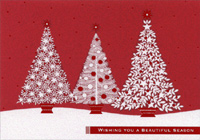 Christmas Trees on Red (1 card/1 envelope) - Christmas Card - FRONT: Wishing you a beautiful season  INSIDE: With very best wishes for the holidays and new year.
